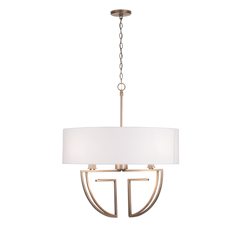 Art Deco Four-Light Chandelier in Aged Brass with a white shade from Capital Lighting Fixture Co.