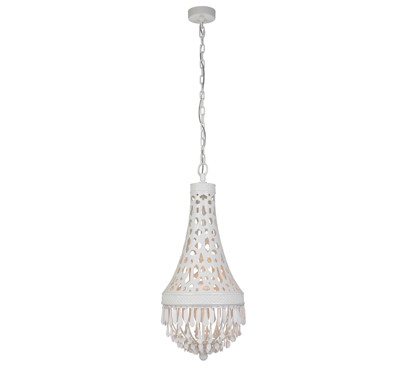 White, cone-shaped Nico LED pendant with fringe on the bottom from Craftmade