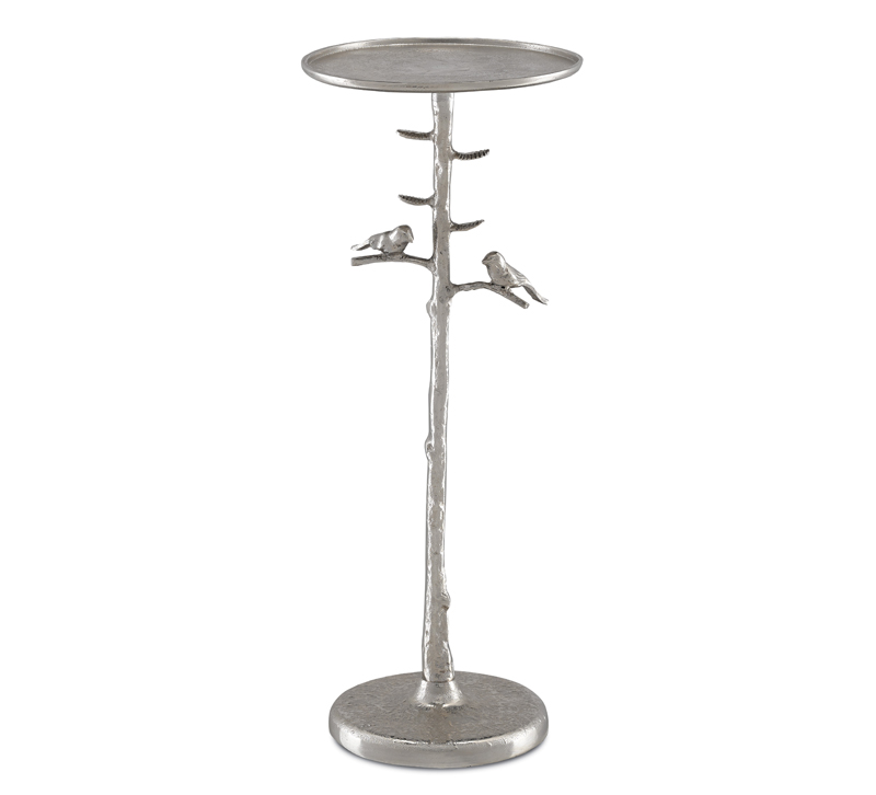Piaf small silver drinks table with bird details on base from Currey & Co.