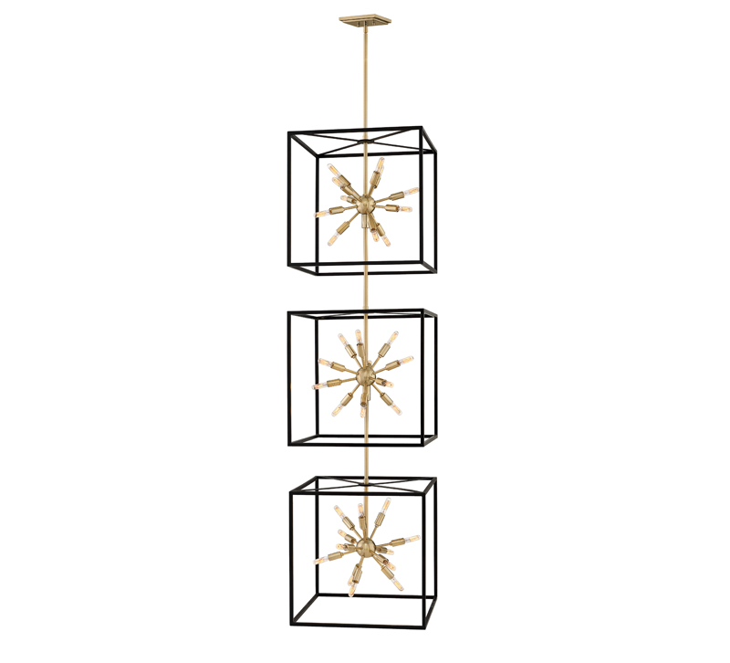 Aros Three Tiered caged pendant with sputnik-styled centers in each black-finished cage from Hinkley Lighting