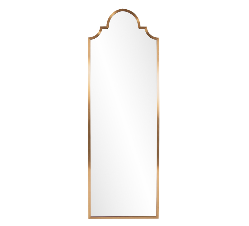 Czar Mirror with a Brushed BRass finish and an arched top from Howard Elliott