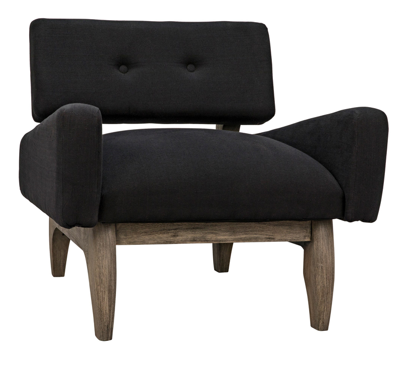 Neville Club Chair in black fabric with light brown legs from Noir Furniture