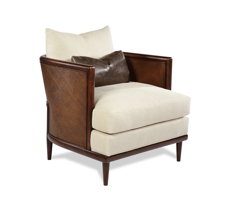 Porter Chair with brown cane frame and beige fabric from Taylor King