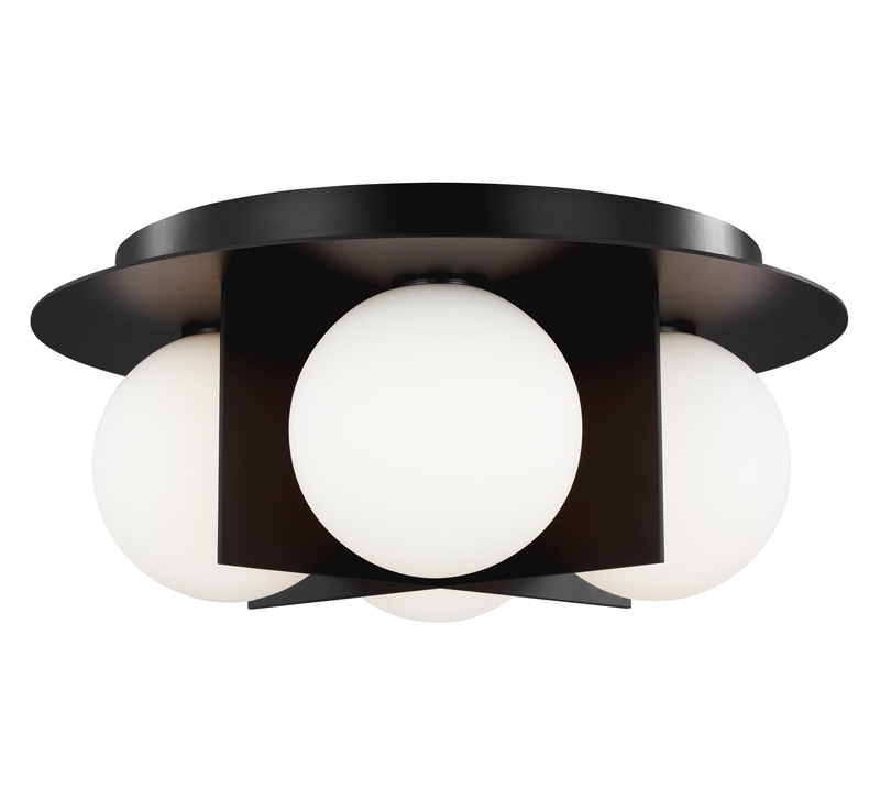 Orbel black flush mount with four lights surrounded by frosted glass orbs from Tech Lighting