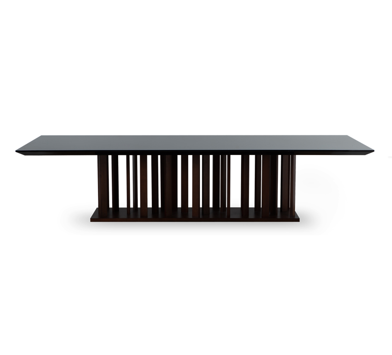 Le Bois Dining Table with a black top and deep brown base from Christopher Guy