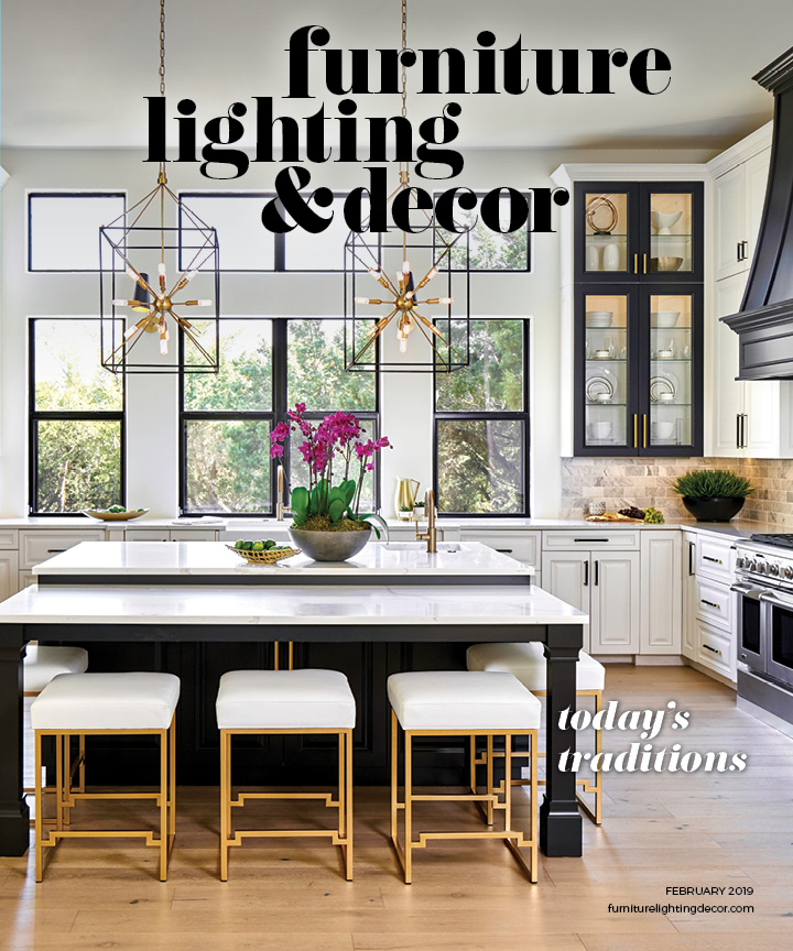 Kitchen with island and two pendants, cover of Furniture, Lighting & Decor February 2019 issue