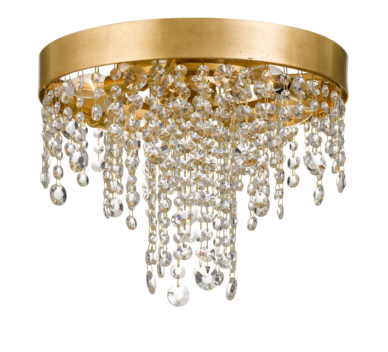 Winham Ceiling Mount with an Antique Gold rim with crystals hanging from it from Crystorama