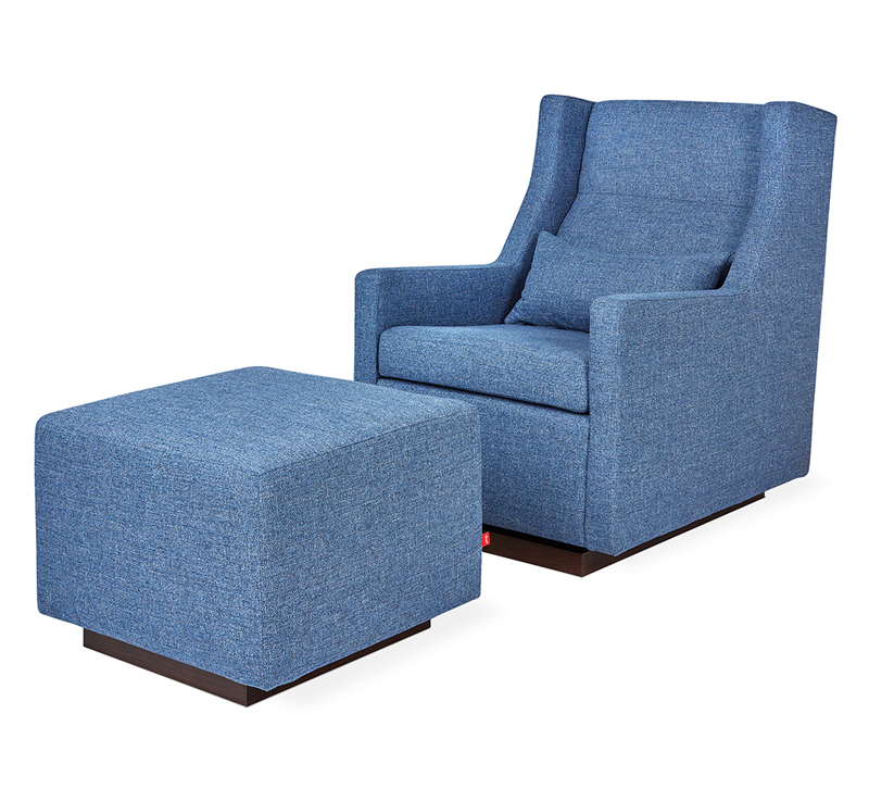 Sparrow swivel Glider and Ottoman in blue with a lumbar pillow from Gus Modern