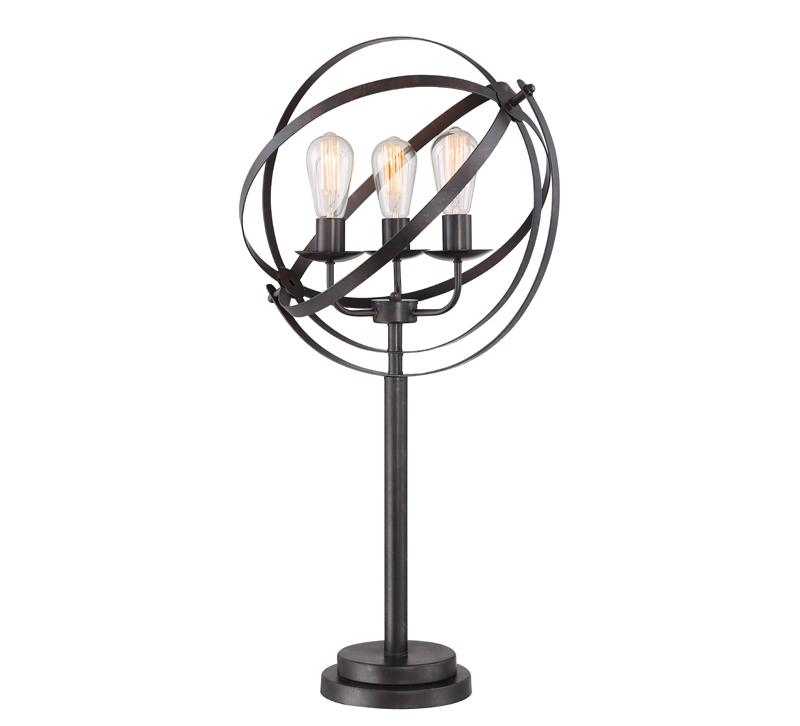 Orbiton table lamp with an open, circular, metal shade and three Edison bulbs from Lite Source