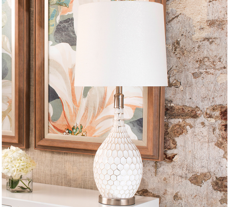 StyleCraft white table lamp on white chest