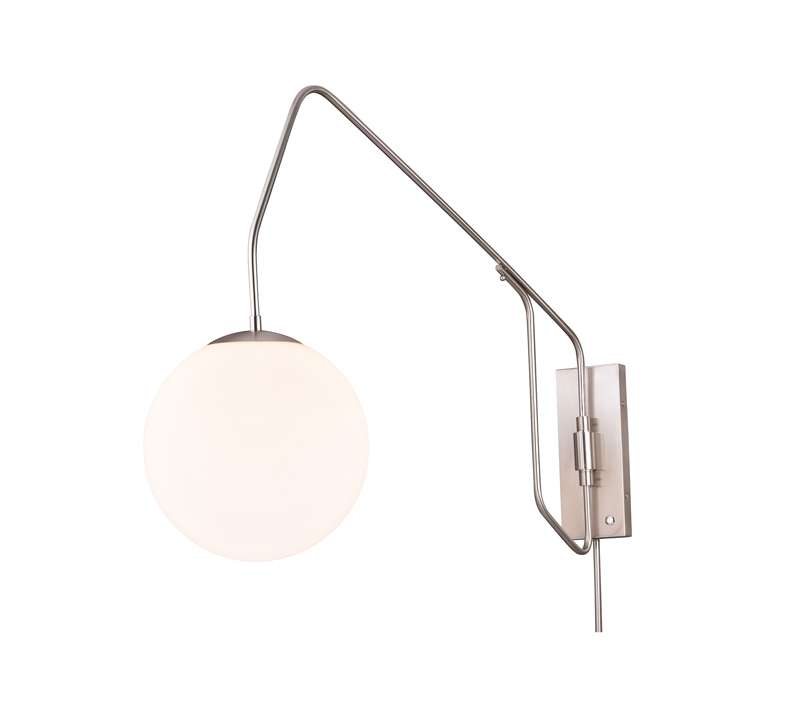 Marcin Swing Arm Wall Light in Satin Nickel with a frosted globe from Vaxcel