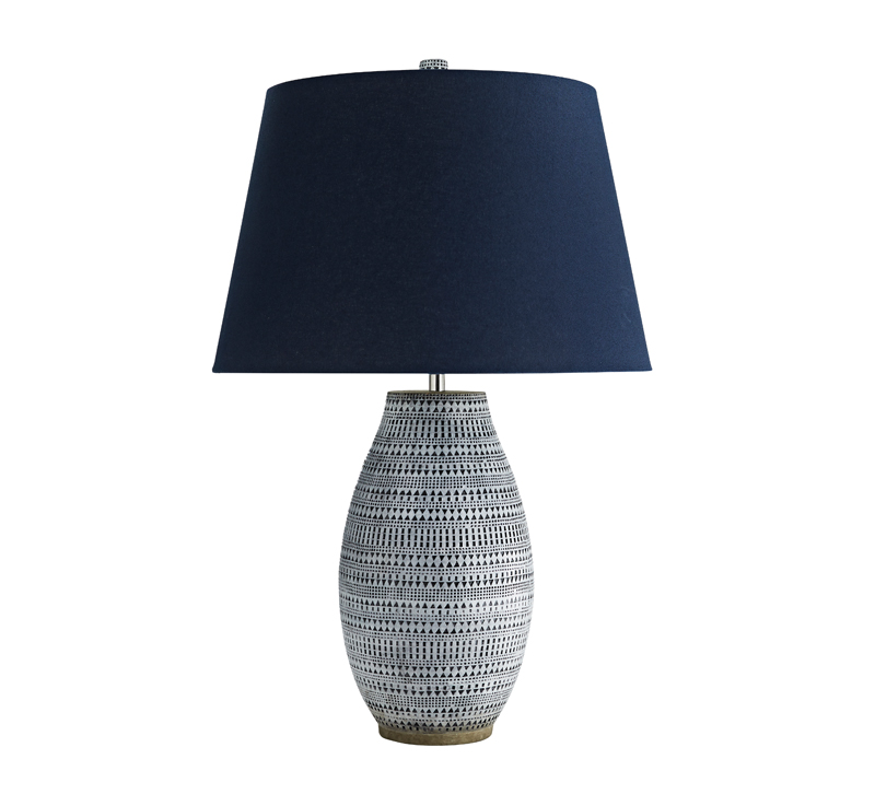 Shawnee Table Lamp with a black and white ceramic body and blue shade from Arteriors