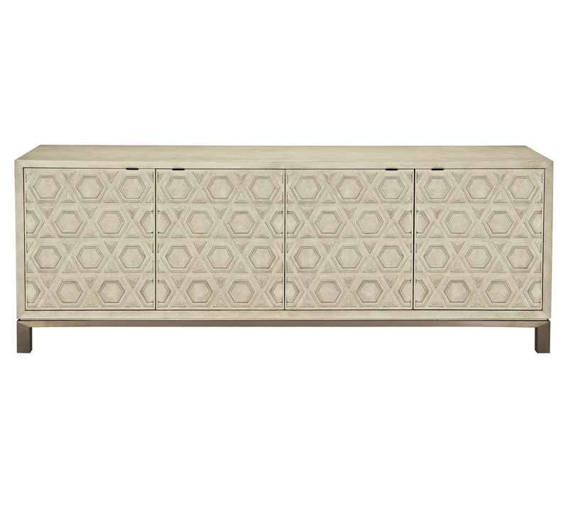 Santa Barbara Entertainment Console in beige with four doors from Bernhardt