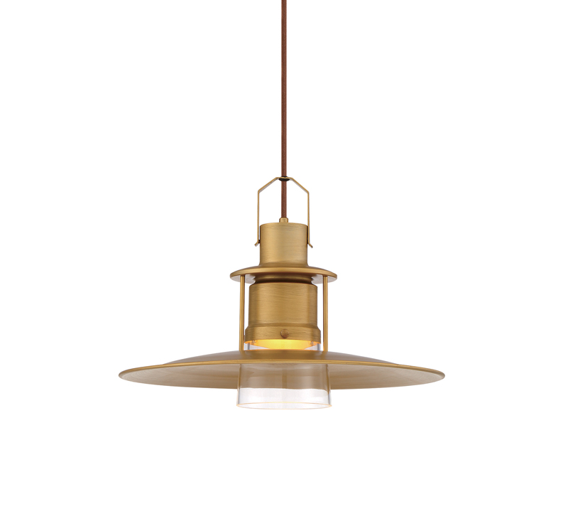 Lamport Pendant in Cognac and a Brushed Brass finish from Eurofase