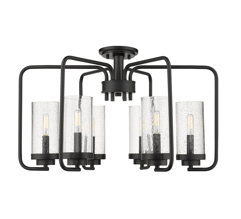 Holden six-light Semi-Flush Mount with seeded glass around Edison bulbs finished in matte Black from Golden Lighting