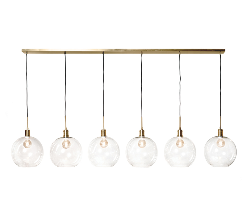 Luca six-light pendant with clear glass orbs and a brass finish from Harp & Finial