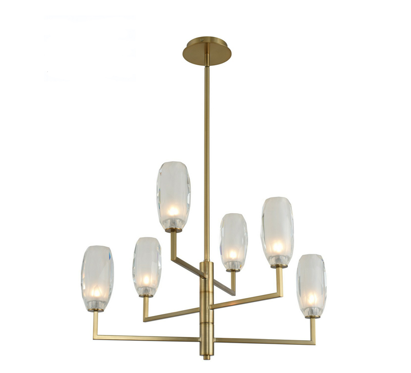 June Six-Light Chandelier in brass with adjustable arms from Kalco Lighting
