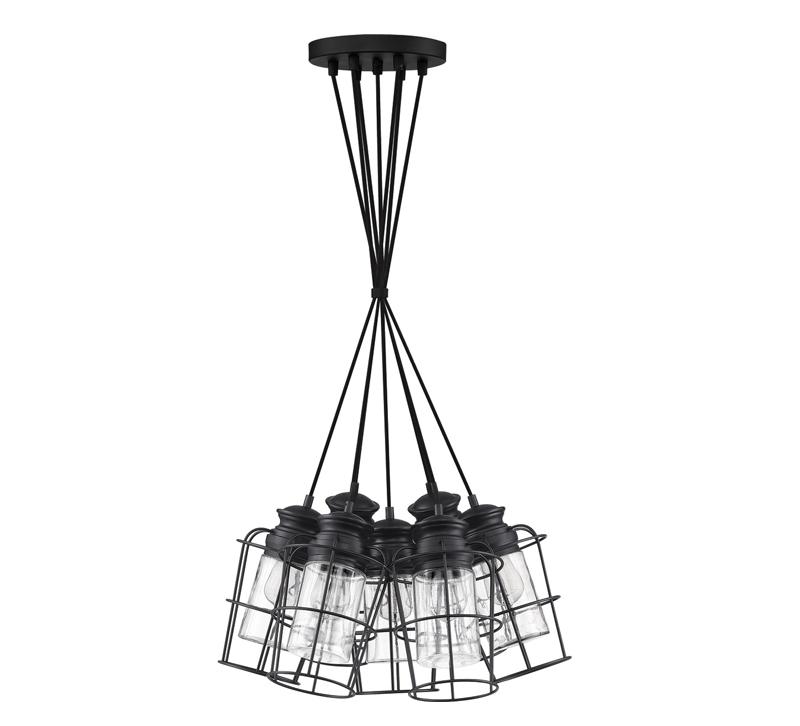Olson seven-light Pendant in Earth Black from Quoizel