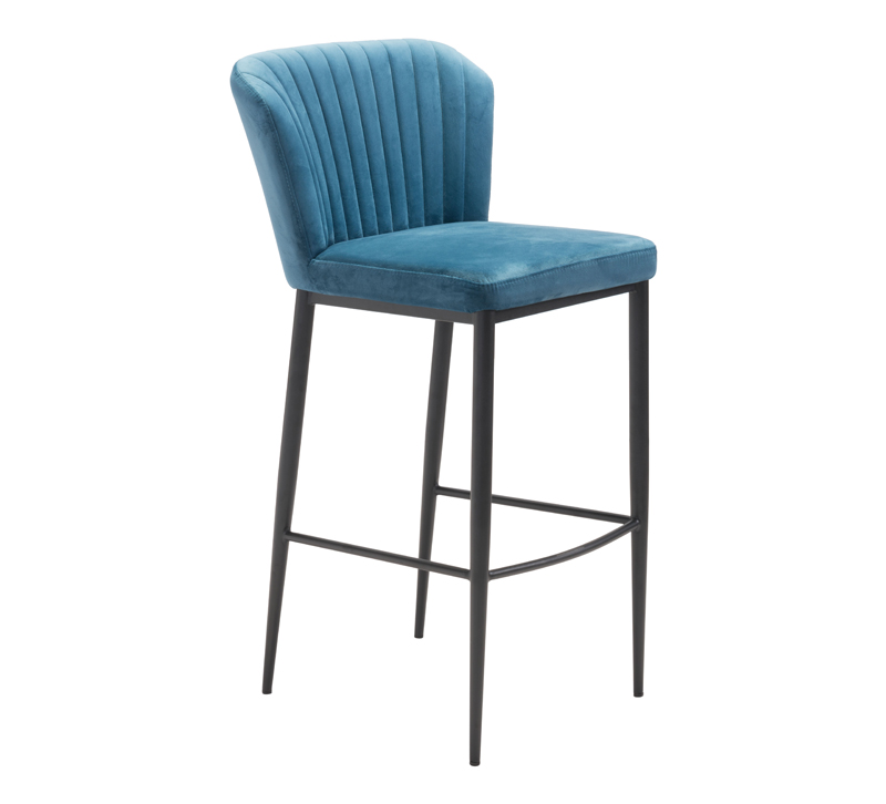Tolivere blue velvet Bar Chair with black legs from Zuo Modern