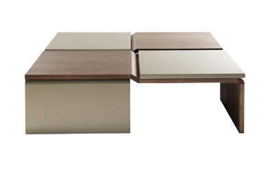 Elco Square Coffee Table in beige and brown