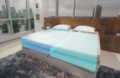 Bedroom with large windows and the Sleep Number 360 Smart Bed