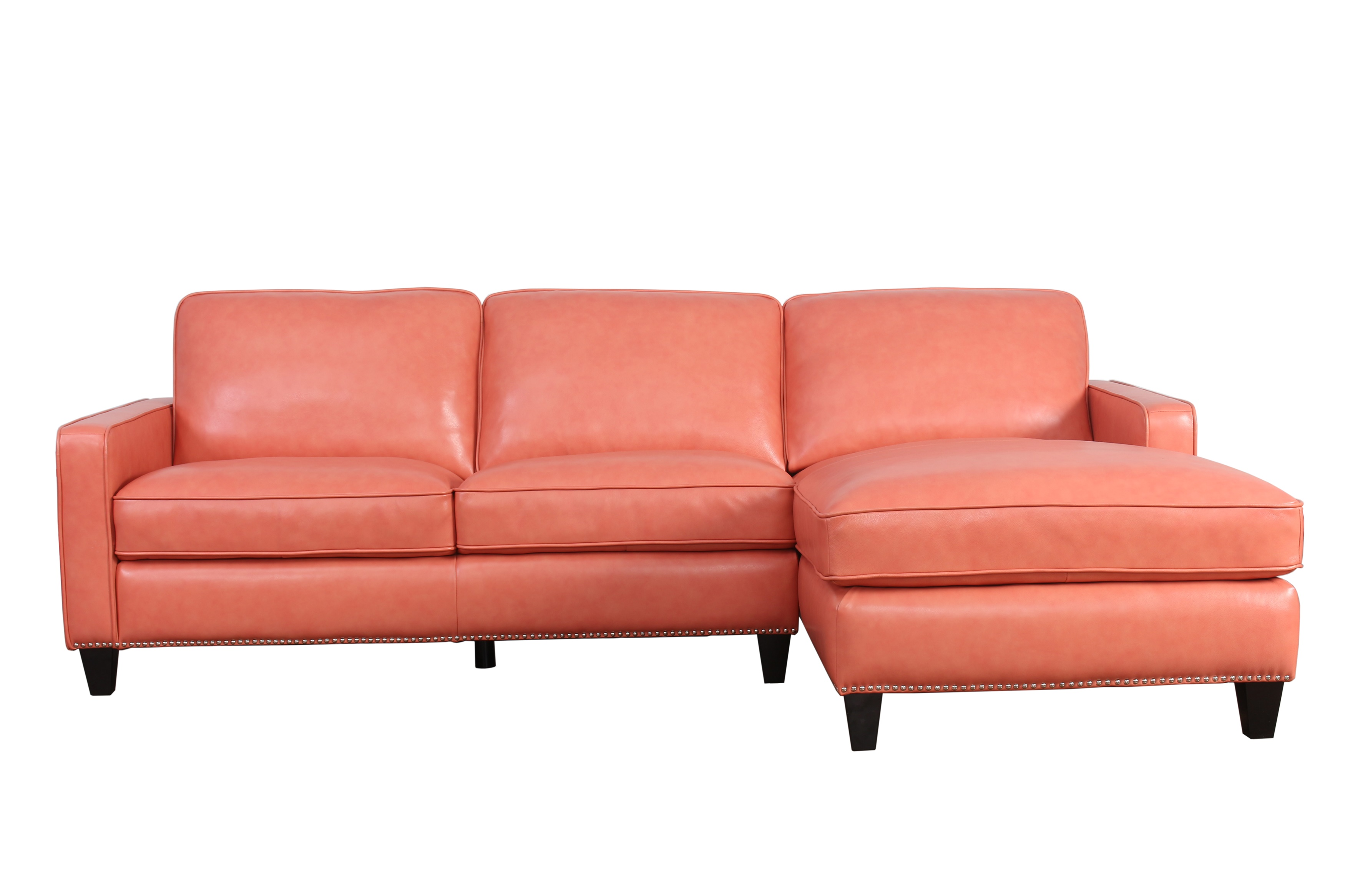 Abbyson Living leather sectional salmon