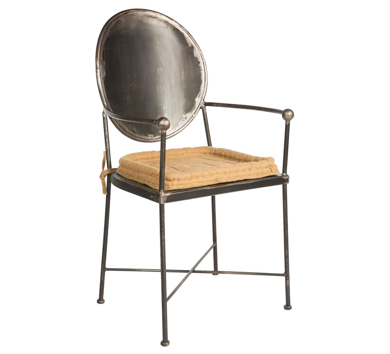 Mary Jane dining chair  with rounded metal back and legs and beige seat cushion from Aiden Gray Home