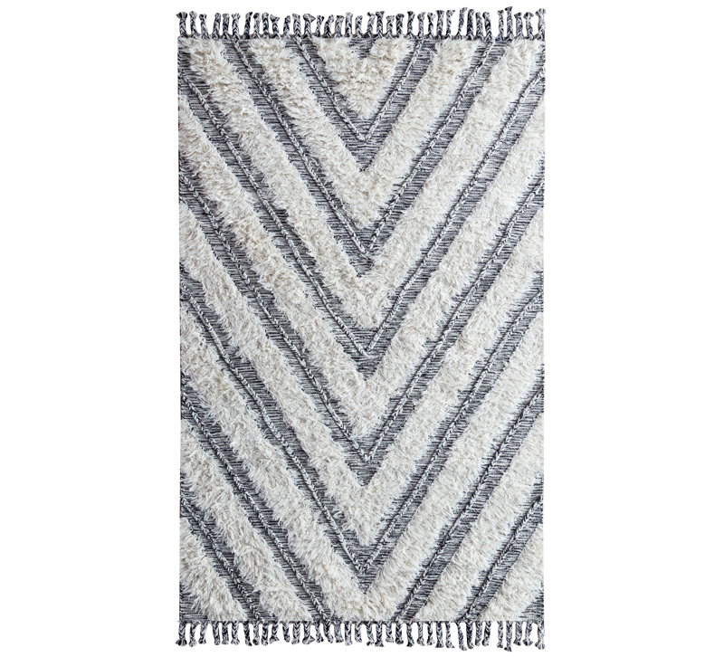 Carmel Kilim shag area rug with gray and white stripes from Classic Home