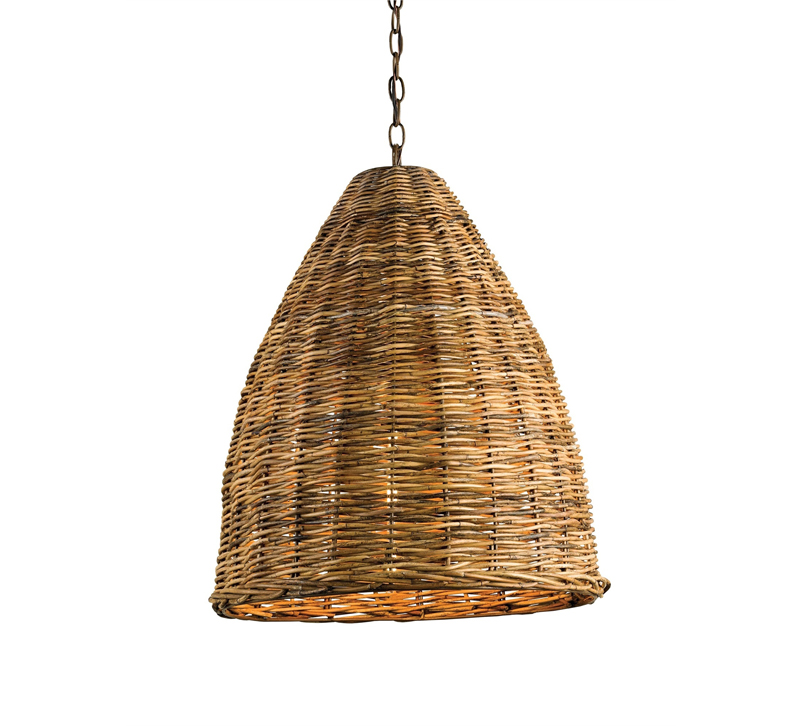 Basket bell pendant with a wicker/rattan shade from Currey & Co.