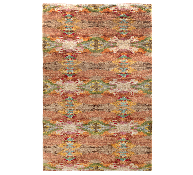 Shiloh handknotted jute area rug in blue, yellow, green, orange and pink from Dash & Albert