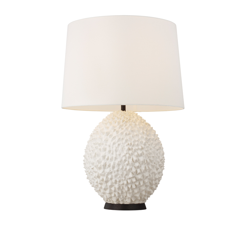 White, textured Anhado table lamp with a brown base from ED Ellen DeGeneres by Generation Lighting