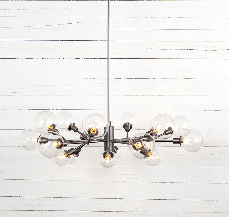 Pellman linear multi-light fixture in silver from Four Hands