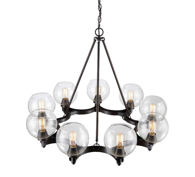 Galveston halo nine-light chandelier in black from Golden Lighting