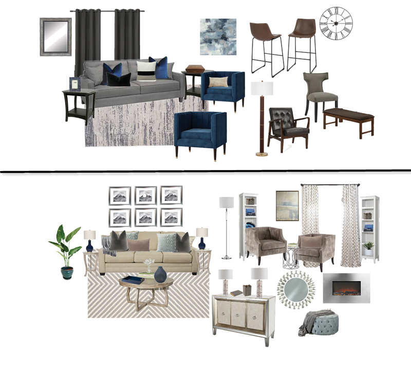 Two mood boards for living rooms designed by Gray Space Interior Design