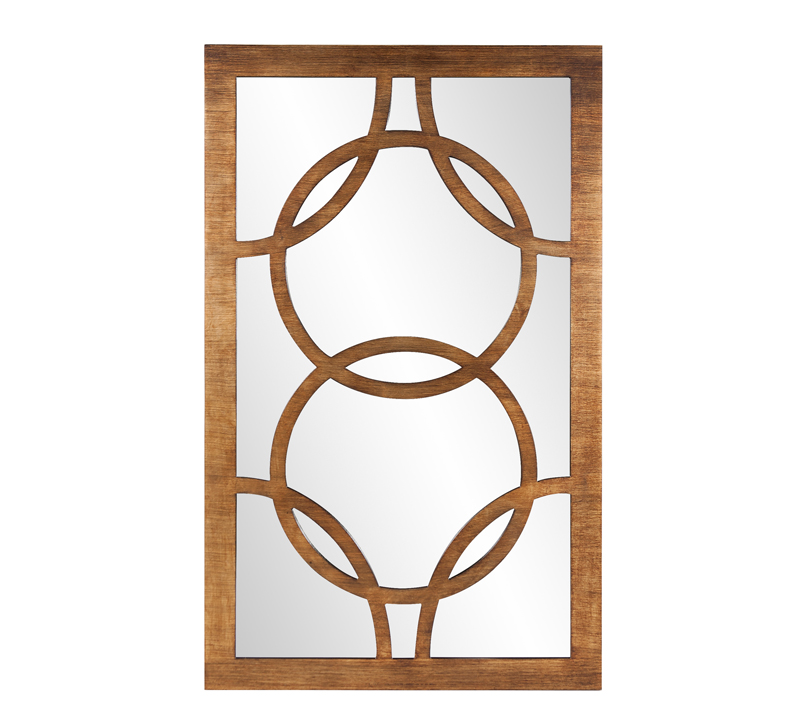Rectangular Felicity mirror with a wood frame and interlocking circles on the glass from Howard Elliott