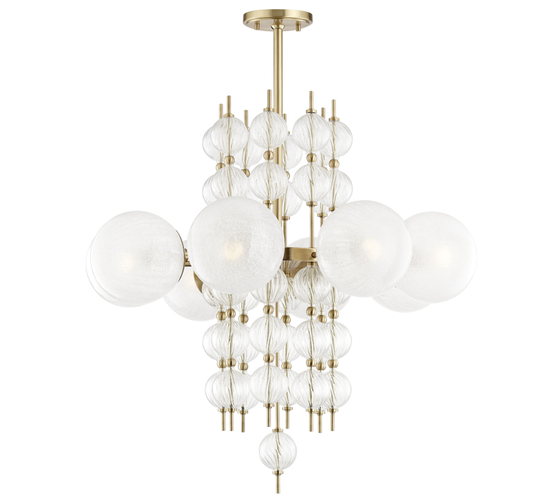 Calypso chandelier made of a cylindrical tower of small glass orbs surrounded by a halo of larger orbs all finished in brass from Hudson Valley Lighting