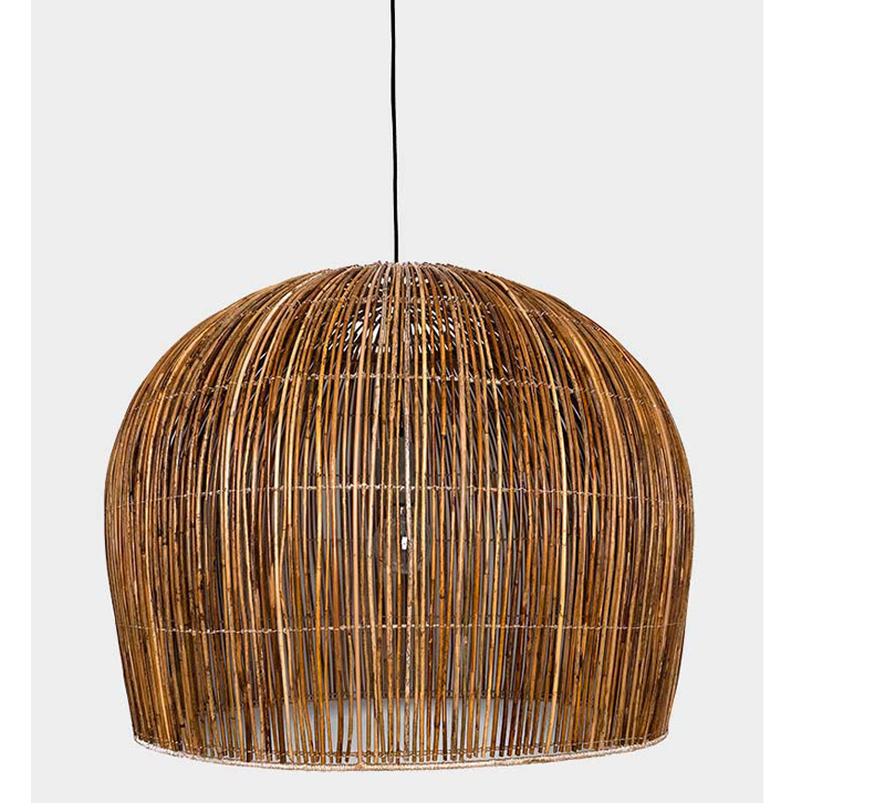 Rattan Bell-Ay pendant with a bell-shaped rattan shade from Illuminate