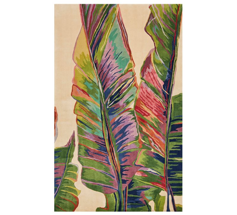 Catalina palm frons area rug in bright colors from KAS Rugs