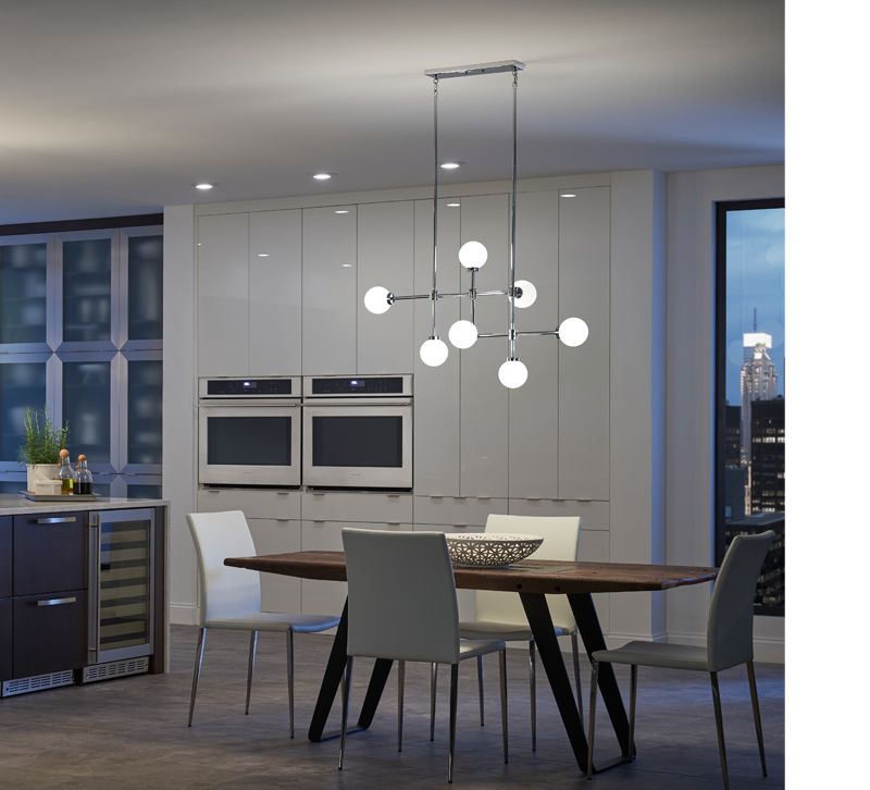 Aura linear chandelier in Chrome from Kichler