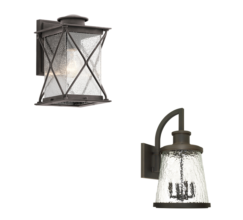 Two outdoor wall sconces from Kichler Lighting and Capital Lighting Fixture Co.