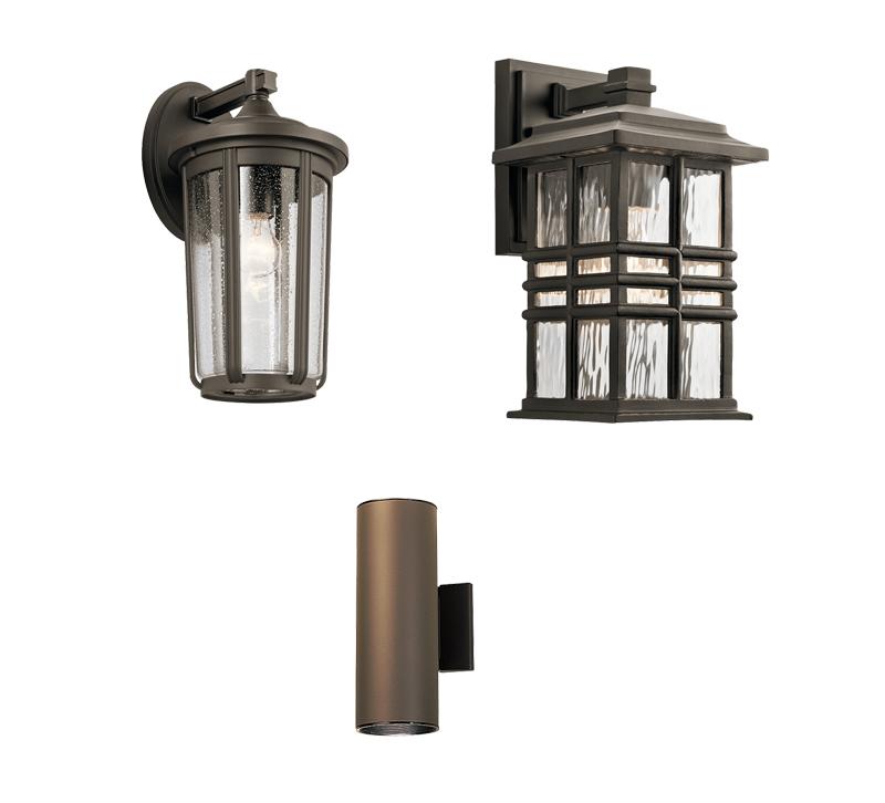 Three outdoor lighting sconces from Kichler Lighting
