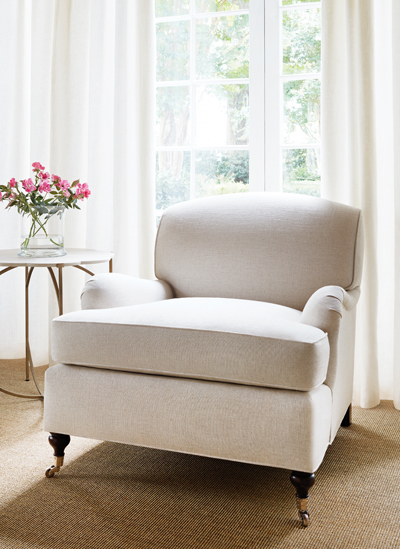 Thibaut Crypton Home fabrics shown here in beige on an arm chair