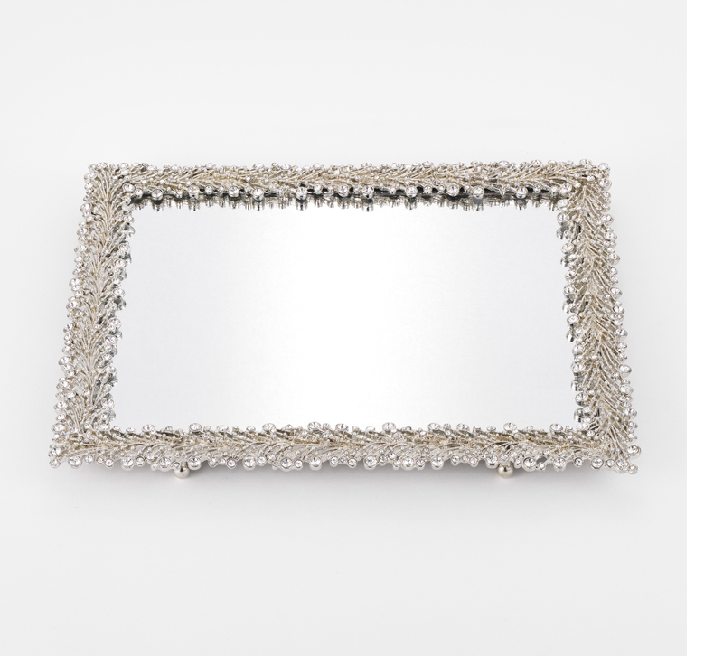 Twinkles mirror tray with floral silver frame from Olivia Riegel