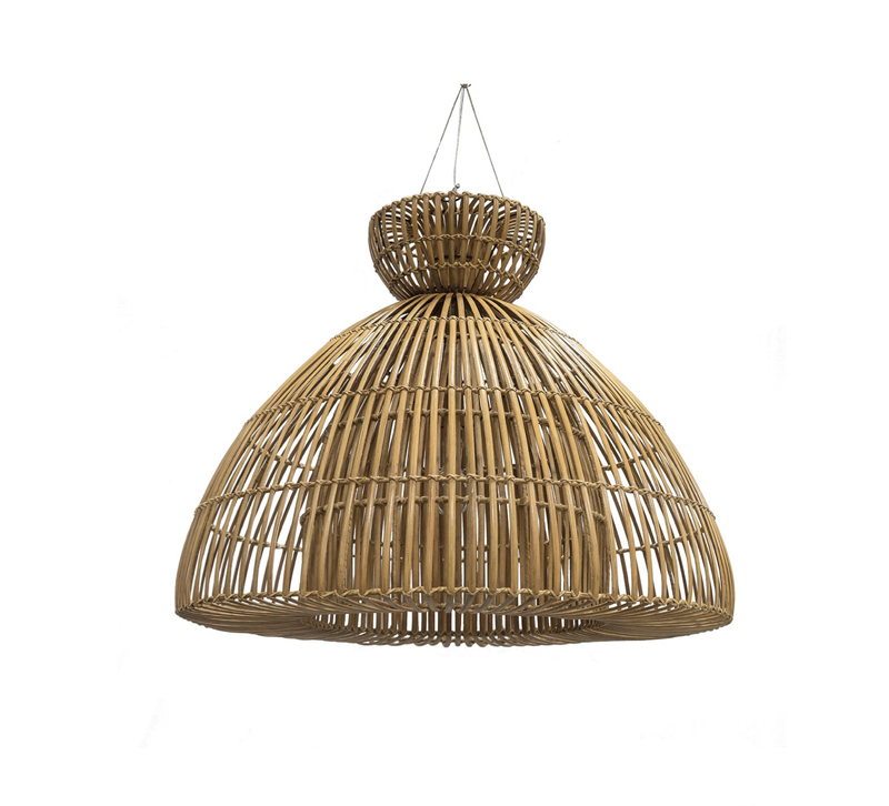 Bahamas pendant with a hand-bent rattan shade from Palecek