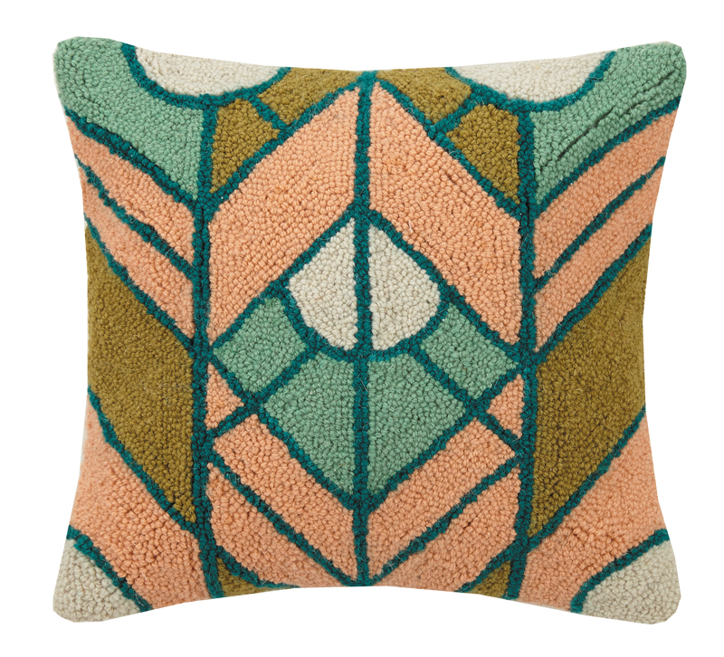 Geometric Gatsby hook pillow in mustard, green, peach and white from Peking Handicraft
