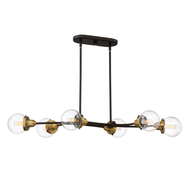 TRance linear six-light chandelier in black with brass accents from Quoizel