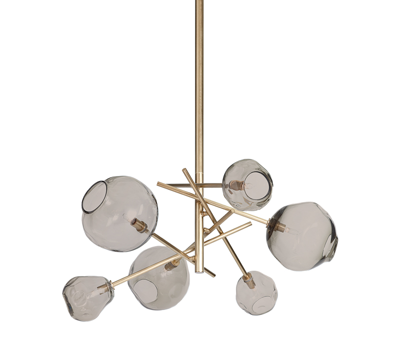Molten six-light chandelier in brass with smokey glass orbs from Regina Andrew Design