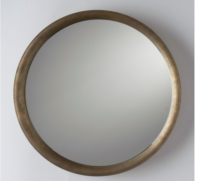 Higgins mirror with a Natural Brass finish on the frame from School House Electric