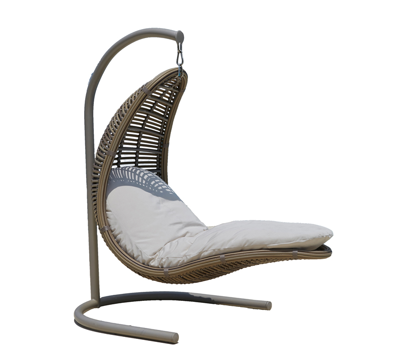 Drone hanging chair with steel frame and wicker hanger from Skyline Design