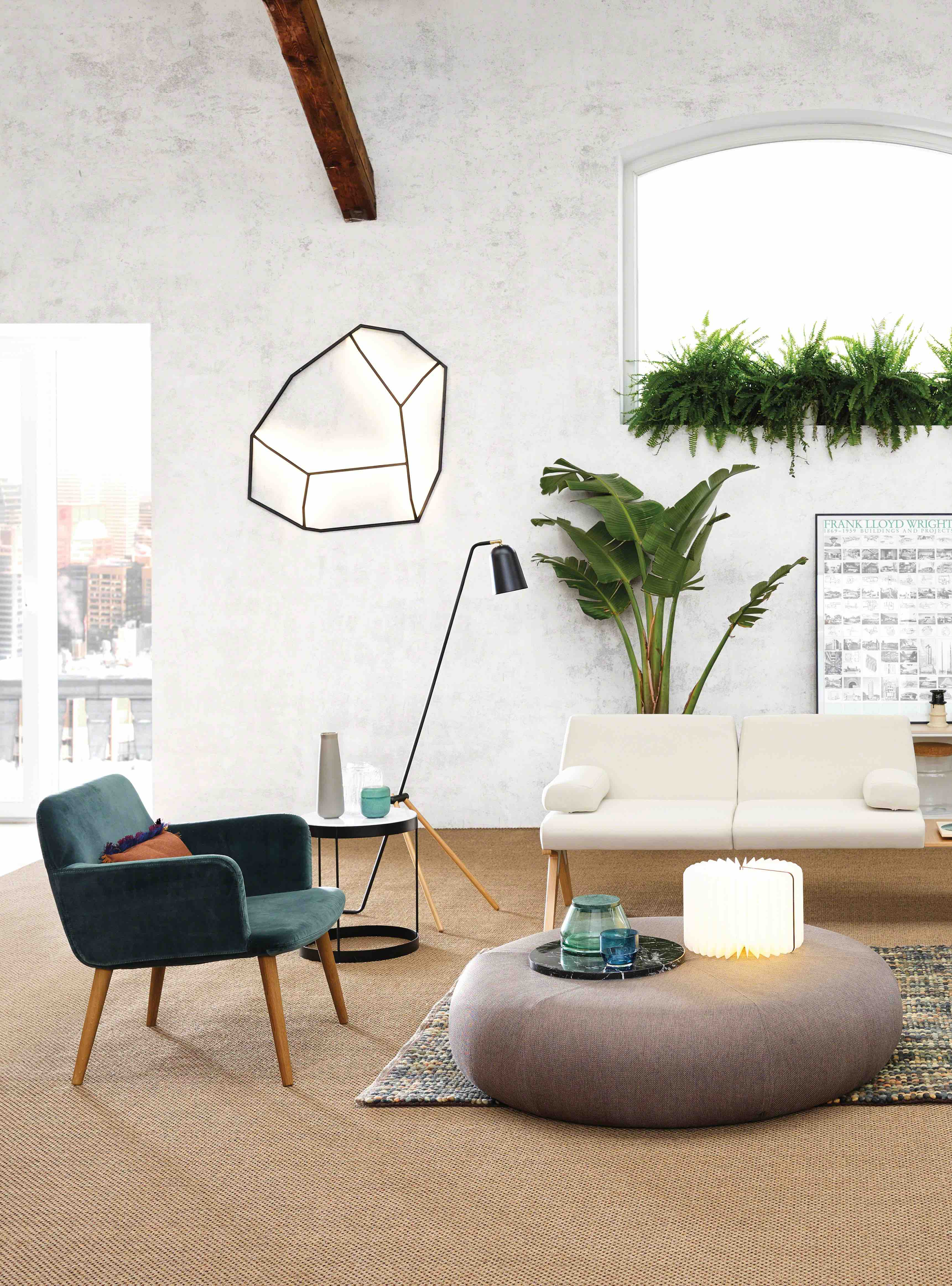 Steelcase Bola Ronda pouf Drum coffee table C3 armchair
